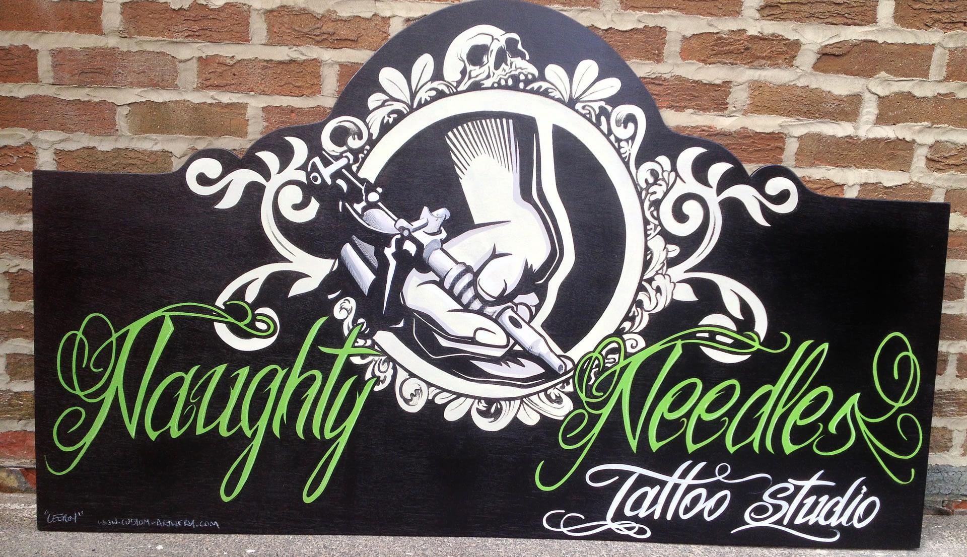 Naughty Needles Studio Sign