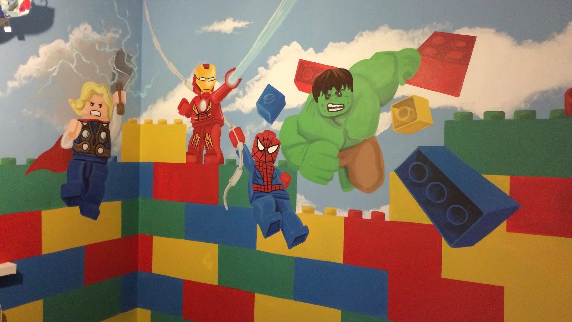 Lego Avengers Room Mural