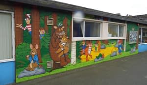 Book characters mural school