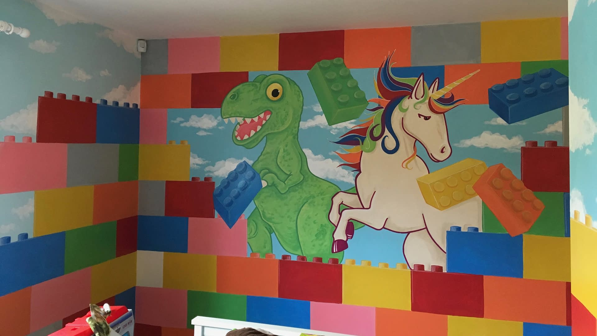 Lego with Dinosaur and Unicorn Mural