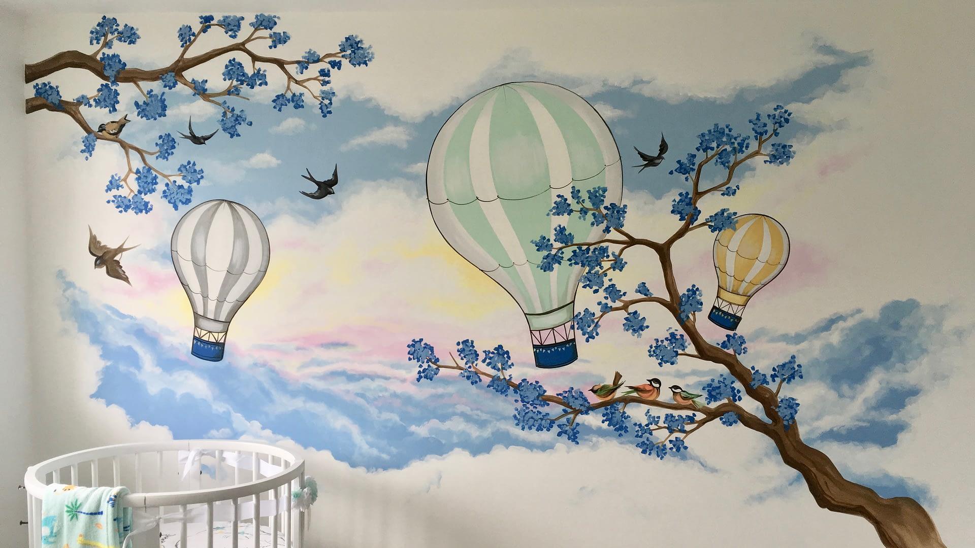 Birds Balloons and Blossom Nursery Mural