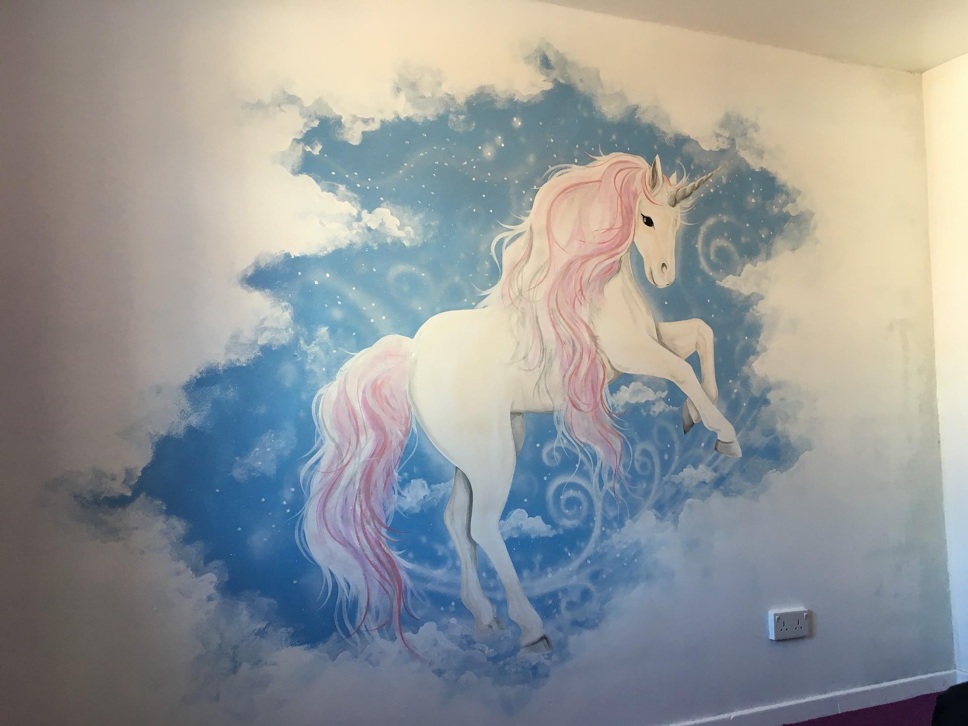 Unicorn in Clouds Mural