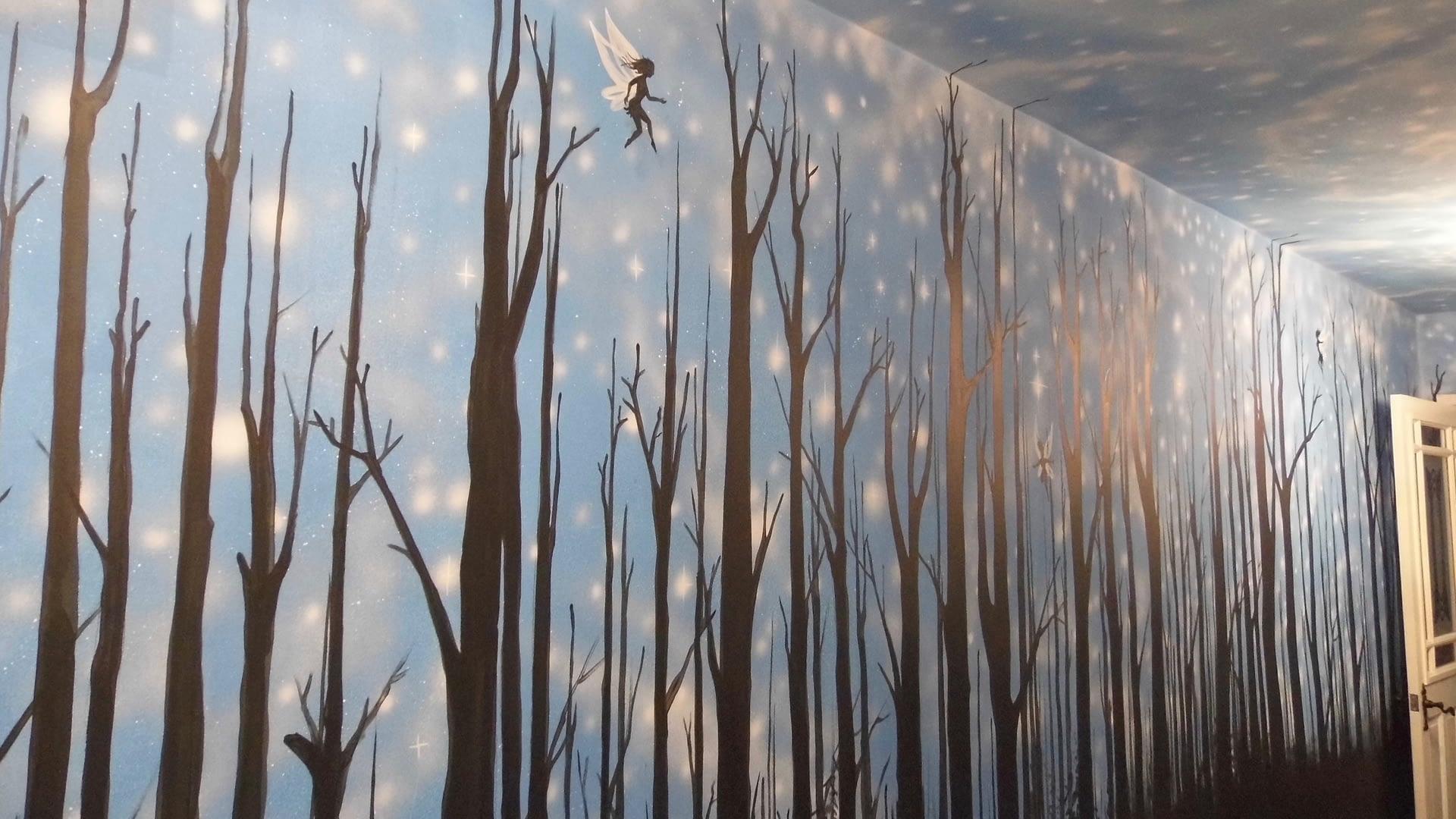 Hallway Trees & Stars Mural