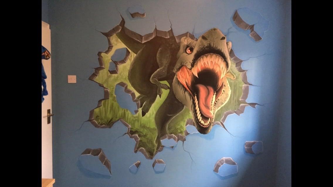 T Rex Attack Mural