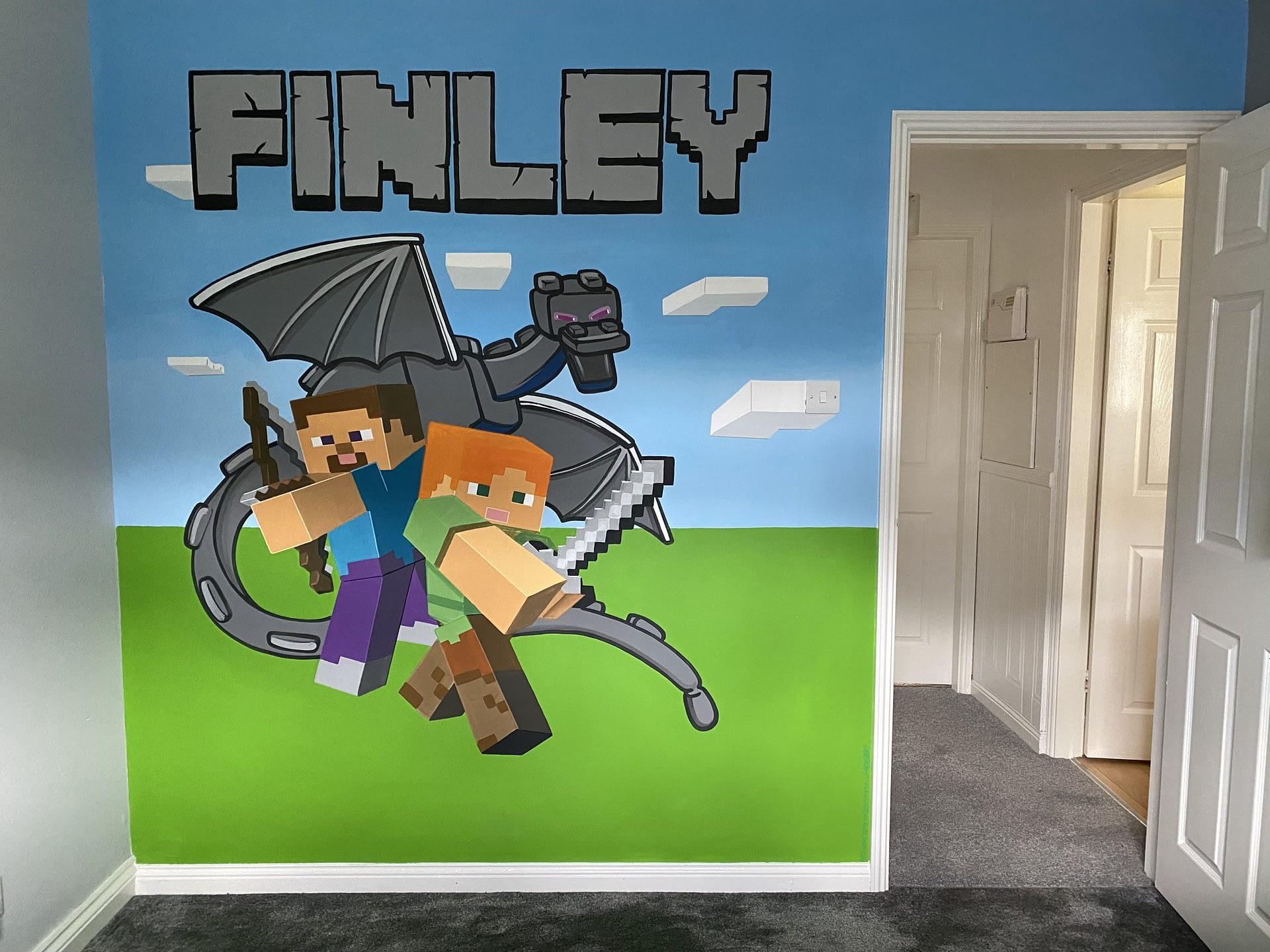 Finley Minecraft Mural