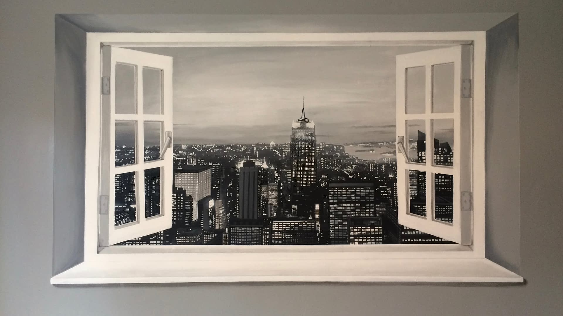 New York view trompe l'oeil