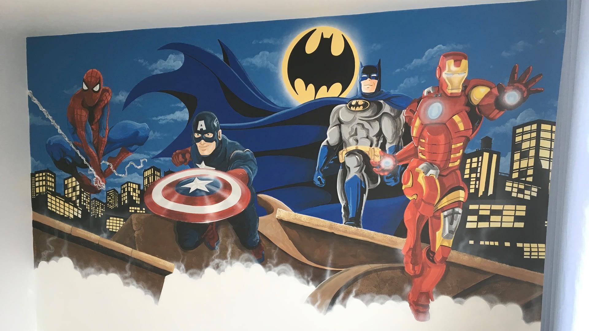 Super Heroes Mural ( DC Vs Marvel )