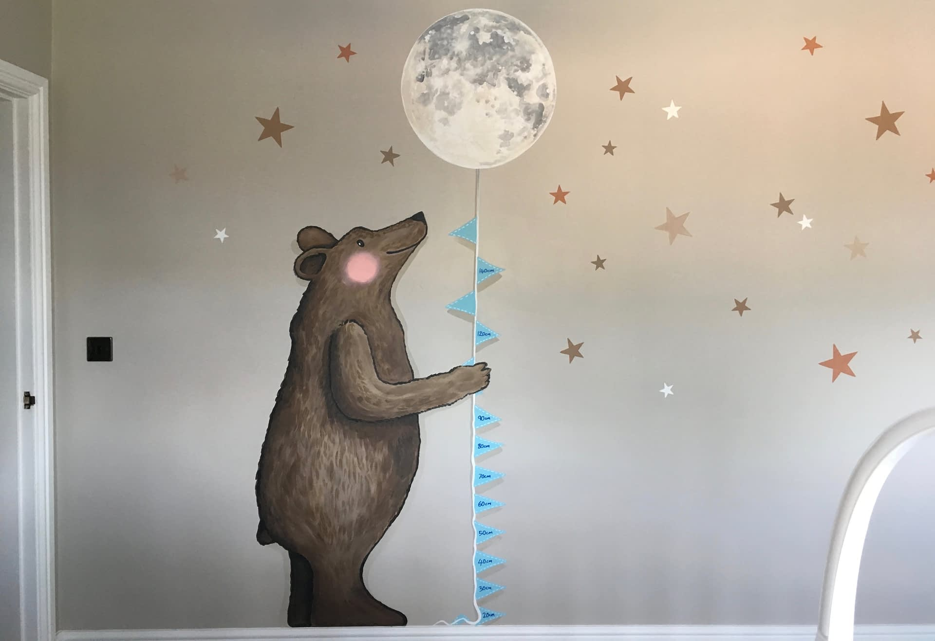 Bear With the Moon and stars Nursery Mural