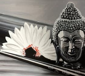 Buddha and Lotus Canvas