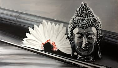 Buddha and Lotus Canvas
