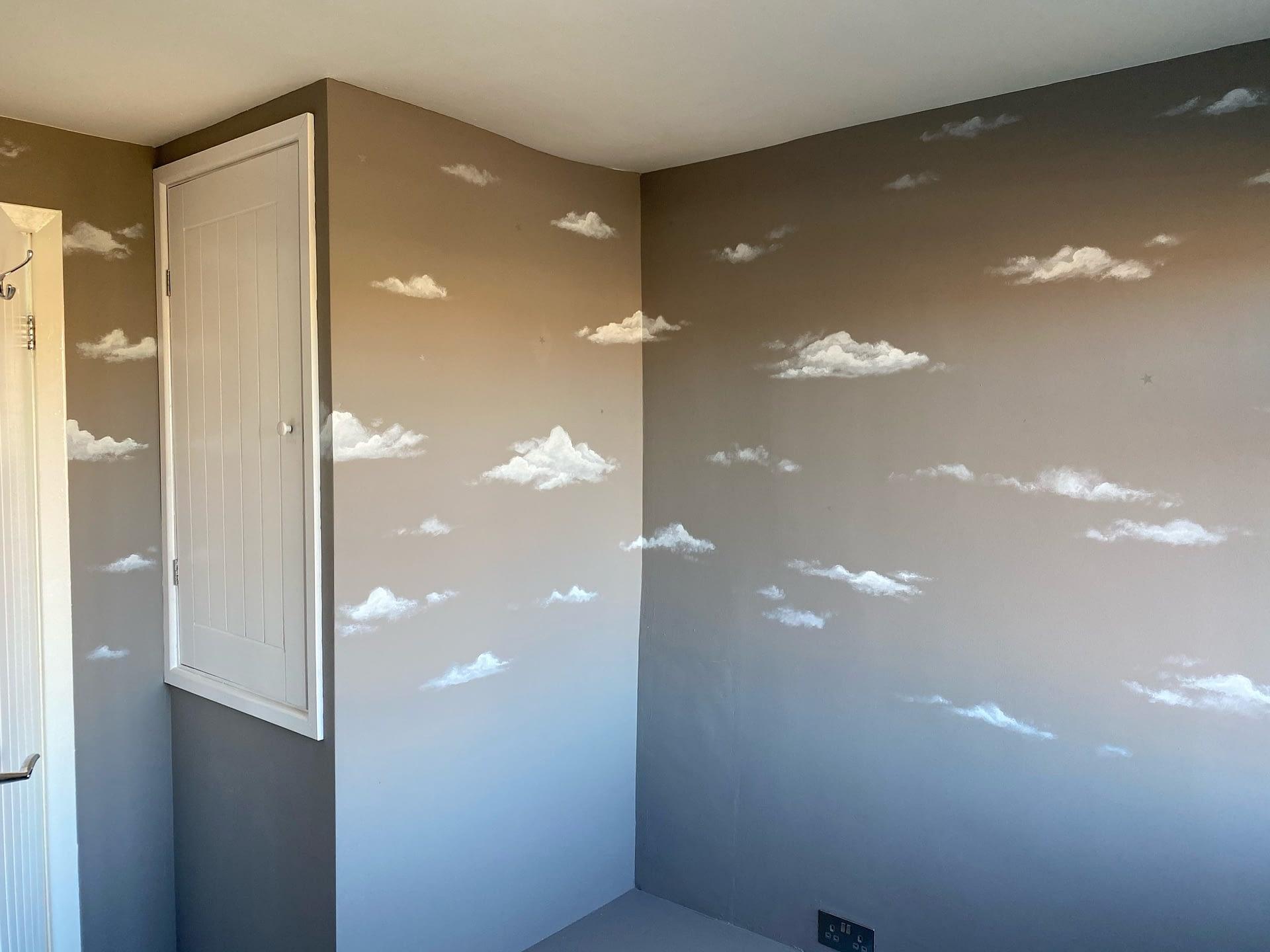 Simple Clouds Nursery Mural
