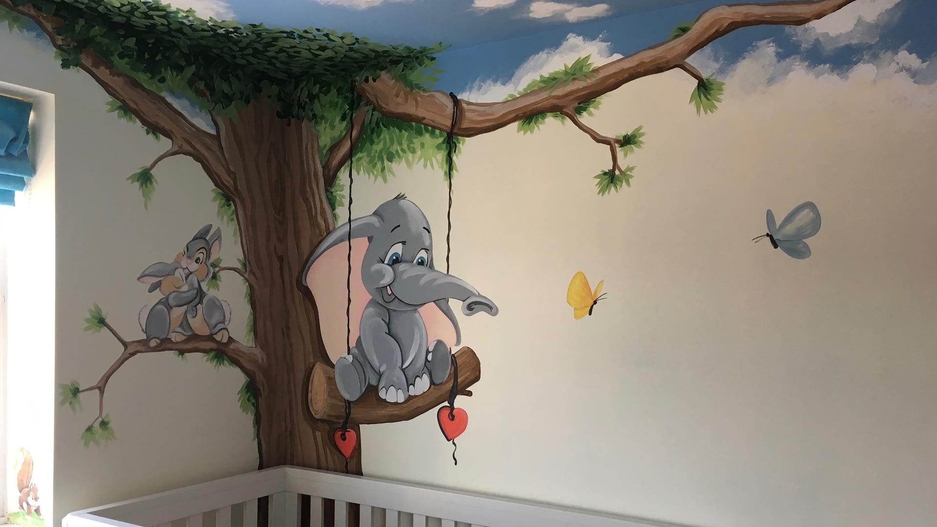 Baby Dumbo Nursery Mural